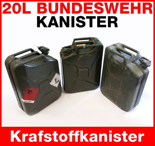 1x 20 liter orig bw metall kanister benzin diesel 20l bundeswehr kl ffnung ebay. Black Bedroom Furniture Sets. Home Design Ideas